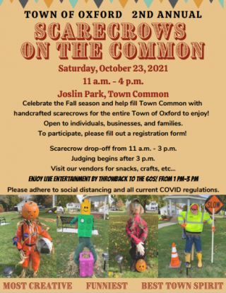 Scarecrows on the Common event - Oct 23, 2021  11am - 4pm - Oxford Town Common